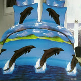 Printed Blue Sea Dolphin Bedding Set - 4 Pieces