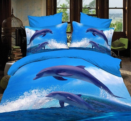 3D Oil Painting Blue Ocean Dolphin Bedding Set - 4 Pieces