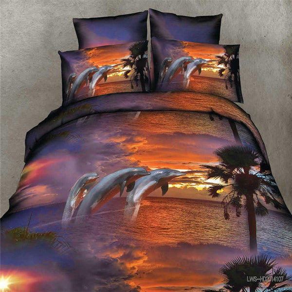 Printed Cloudy Sunset Dolphin Bedding Set - 4 Pieces