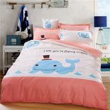 Blue Dolphin on White Cartoon Bedding Set 4-pieces