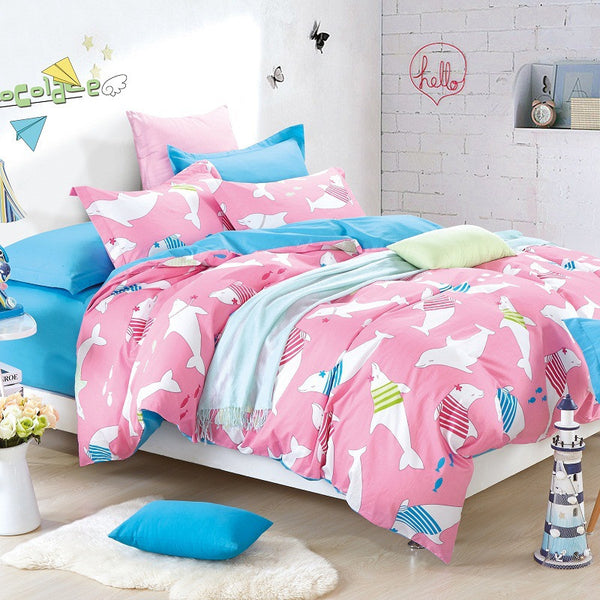 Pink Dolphins Printed Bedding Set 100% Cotton - 4 Pieces
