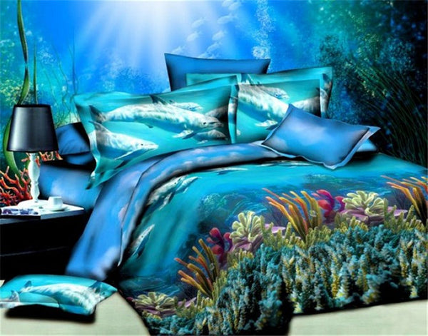 Under The Blue Sea Dolphin Bedding Sets 100% Cotton - 4 Pieces