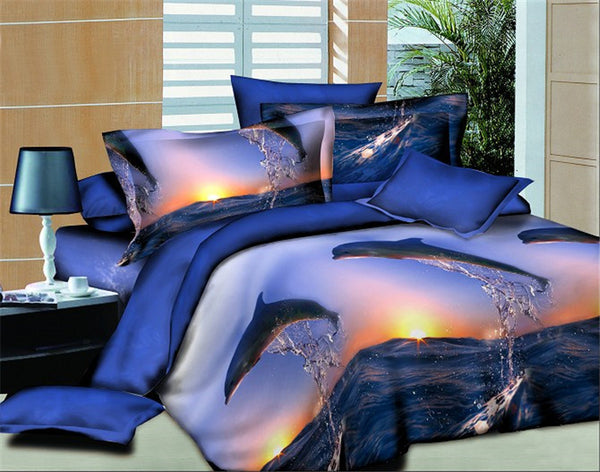 Beautiful Sunset Dolphin Bedding Set 100% Cotton 4 Pieces
