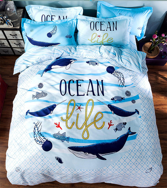 Cartoon Printed Dolphin Bedding Set 100% Cotton - 4 Pieces
