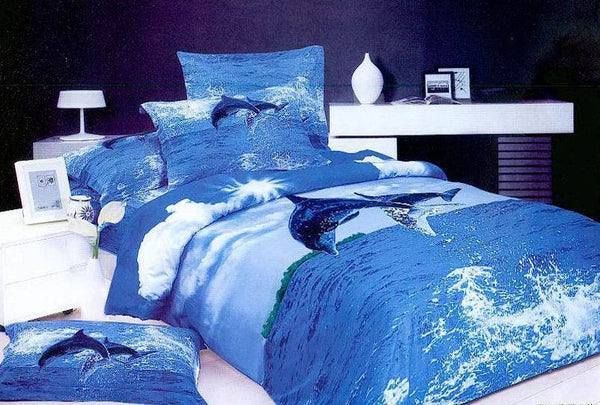 3D Blue Dolphin Sea and Sky Bedding Sets 100% Cotton - 4 pieces