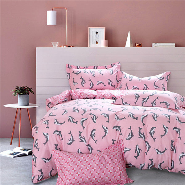Beautiful Dolphin Bedding Set Available in Pink & Blue 100% Cotton- 4 Pieces