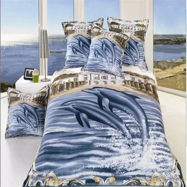 3D Oil Dolphin Bedding Set - 4 pieces