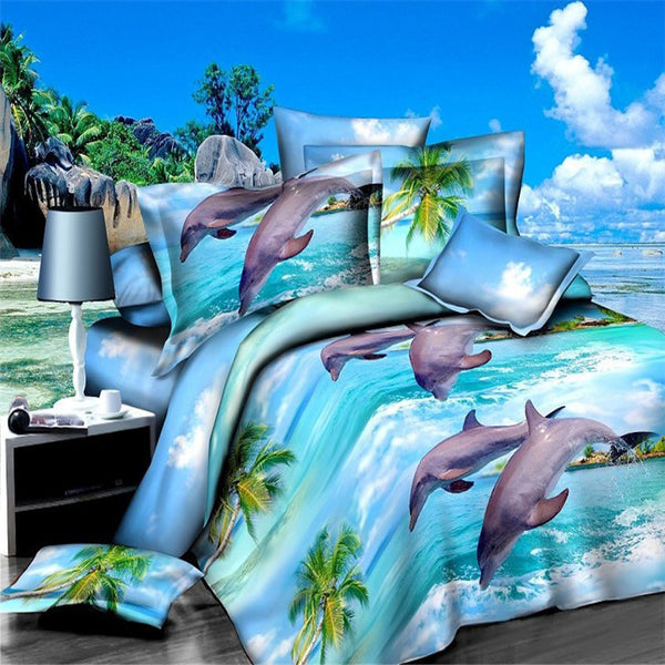 3D Dolphin Bedding Set - 4 pieces