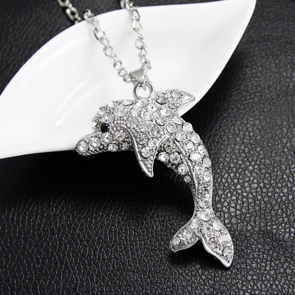 Crystal Dolphin Necklace With AAA Rhinestone Pendant - Silver/Gold Colour