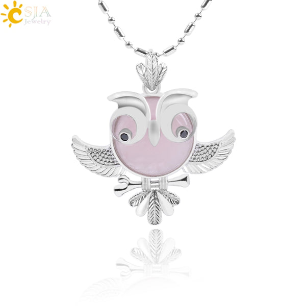Soft Natural Round Gem Stone Owl Bird Necklace Pendants (Available in Opal, Purple, Pink, Quartz and more)
