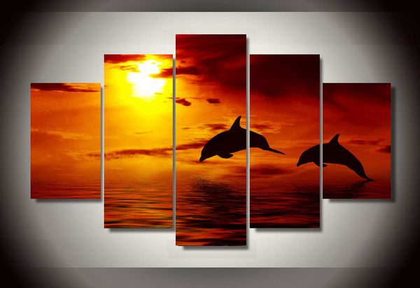 Framed Printed Beautiful Ocean Sunset 5 Piece Canvas Dolphin Wall Art