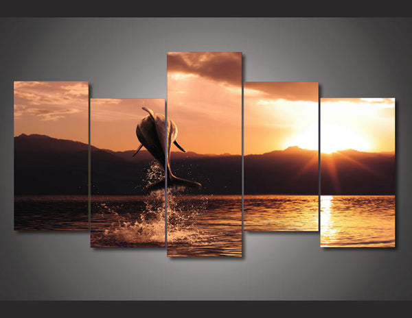 Framed Printed Sunset Seascape 5 Piece Canvas Dolphin Wall Art