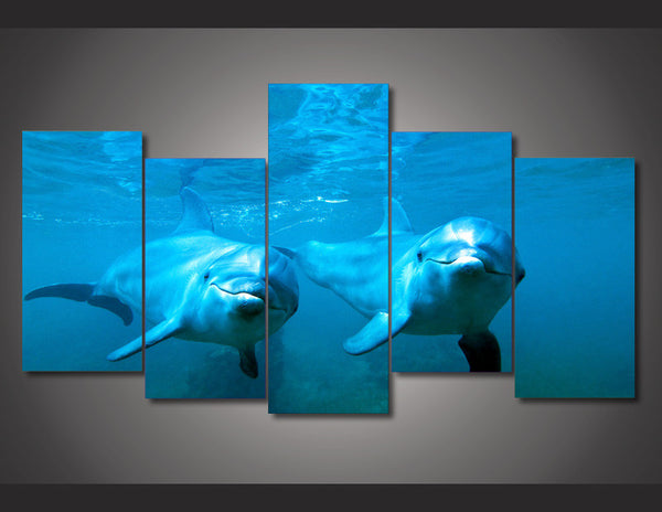 Framed Ocean 5 Piece Canvas Dolphin Wall Art