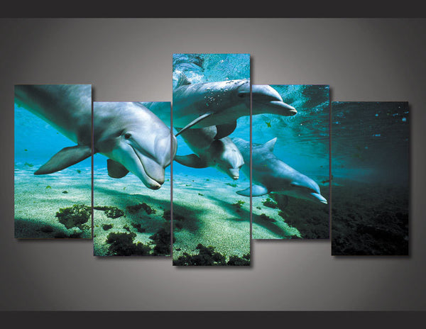 Framed Sea Floor 5 pieces Canvas Dolphin Wall Art