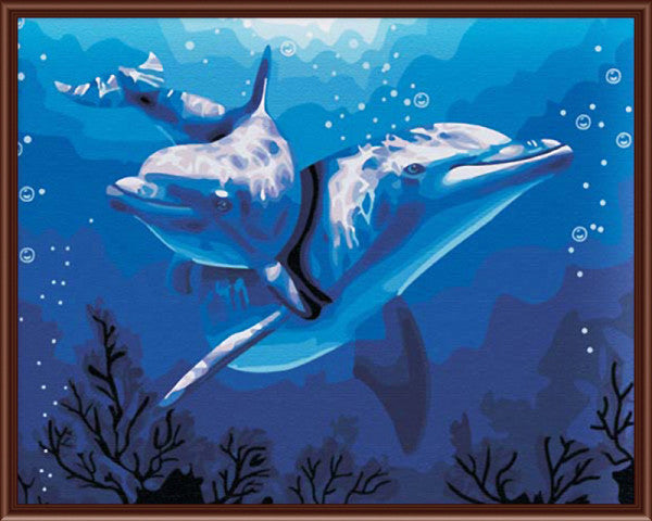 Hand Painted Oil On Canvas Dolphins In The Deap Sea Canvas Wall Art