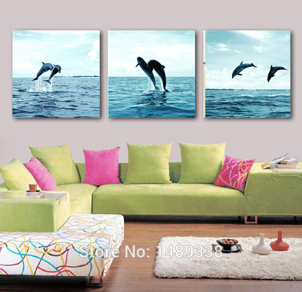3 Piece High-quality Framed Modern Jumping Dolphin Seascape Wall Art