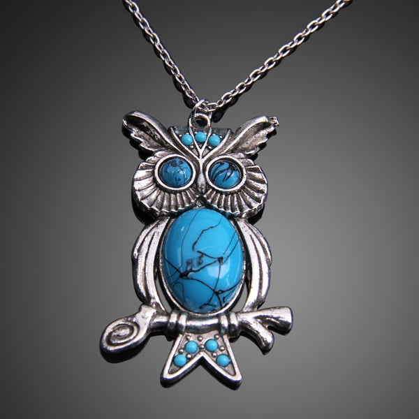 Natural Blue Stone Moissanite Studded Owl Necklace and Pendant
