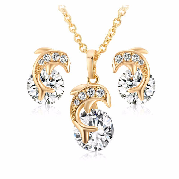 Gorgeous Gold Plated AAA Zircon Stoned Dolphin Jewelry Set Including Necklace and Earrings