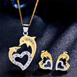 Elegant Dolphin Heart Necklace and Earrings Dolphin Jewelry Set