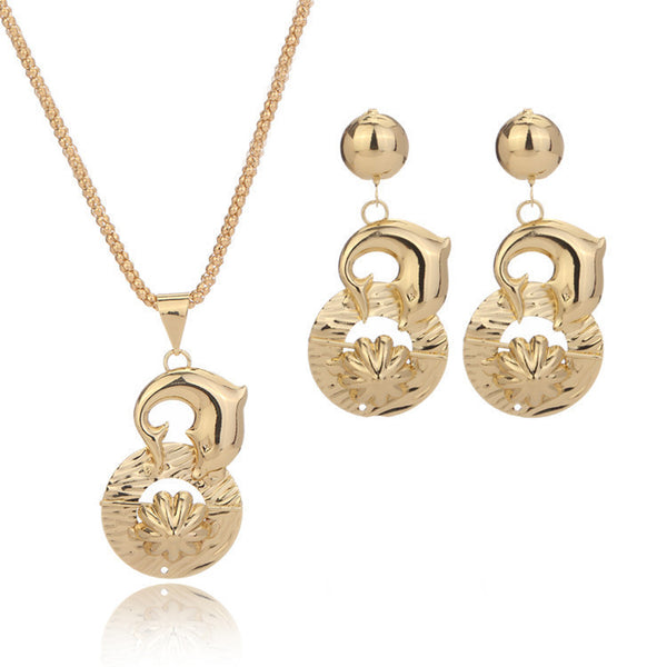 18k Yellow Gold Filled Dubai African Dolphin Jewelry Set