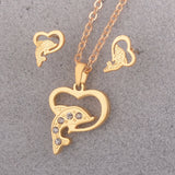 18K Gold Pendant Necklace Earring Jewelry Set