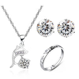 Wonderful Silver Plated Rhinestone Dolphin Jewelry Set