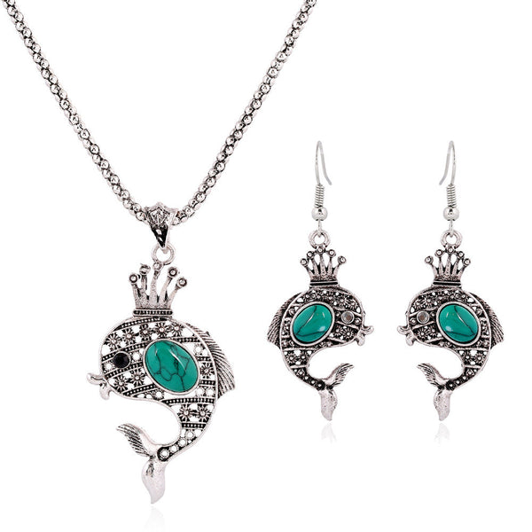 Bohemia Turquoise African Blue Bead Dolphin Jewelry Set
