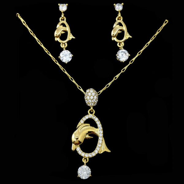 Graceful Crystal Dolphin Jewelry Set Including Including Necklace and Earrings