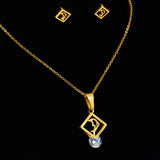 Beautiful Gold Filled Dolphin Jewelry Set With Cubic Zirconia Stone