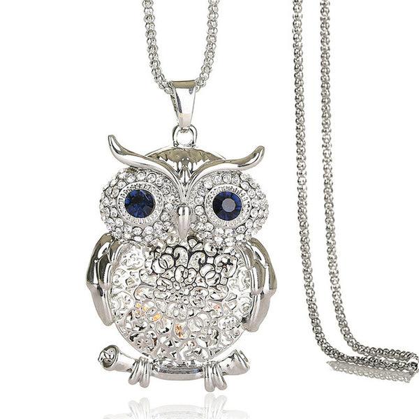 Stunning Zircon Hollow Owl Necklace Flower Necklace (Colour Options - Rosary Gold Silver Chain) - Friendship Necklaces
