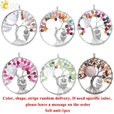 7 Chakra Tree of Life Colorful Faceted Natural Agates Beads Owl Pendant Necklace