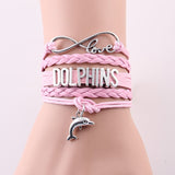 Infinity Love Leather Wrap Dolphin Bracelet - pink