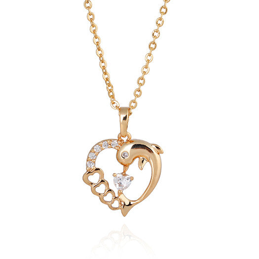 18K Real Gold Plated Heart Dolphin Necklace