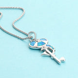 Stunning 925 Sterling Fire Blue Heart and Key Opal Dolphin Pendant (Necklace Not Included)