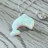 Stunning White Dolphin Opal Stone Pendant Choker Necklace