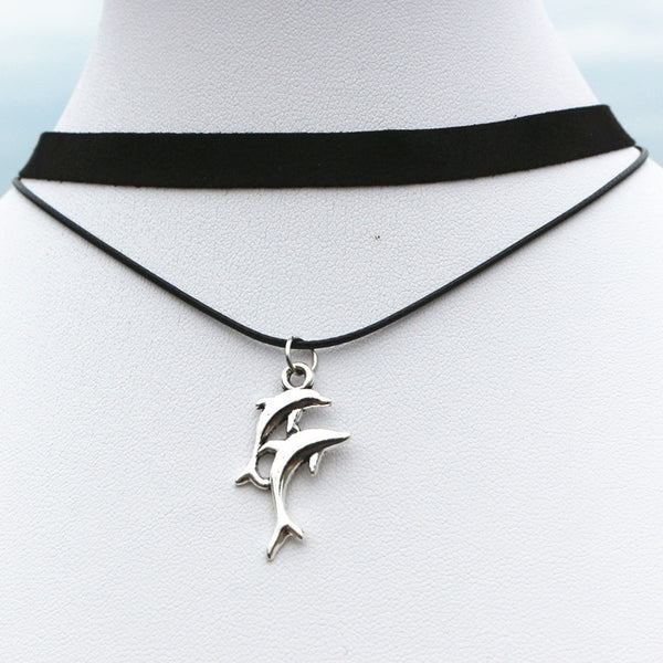 Gothic Clavicle Multilayer Black Choker Dolphin Necklace