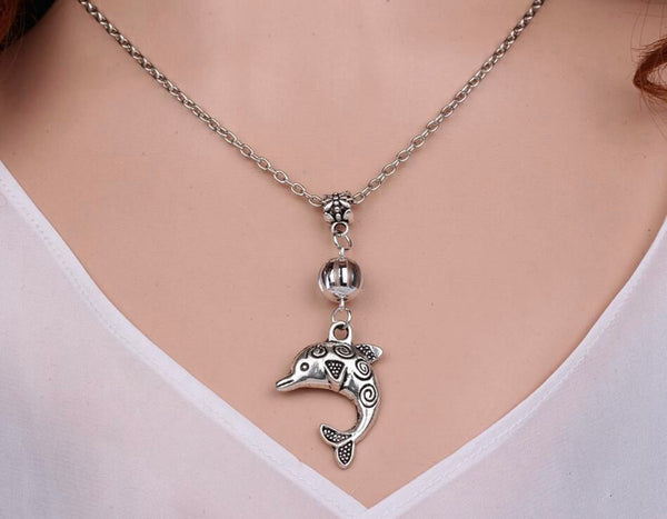Vintage Silver Charm Choker Dolphins Necklace