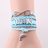 Infinity Love Leather Wrap Dolphin Bracelet - blue