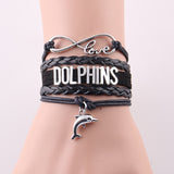 Infinity Love Leather Wrap Dolphin Bracelet - black