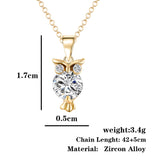 Trendy Crystal CZ  Womens Pendant Owl Necklace (in gold or silver colour) - Jewelry Gift for Her