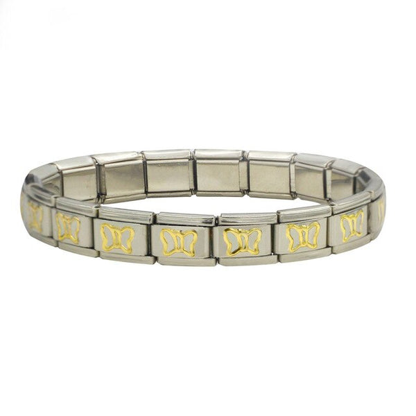 Stainless Steel Bracelet Bangle (Choose from Gold Heart, Flower, Butterfly and Dolphins)