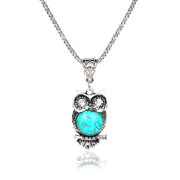 Eye Catching Vintage Rhinestone Geometric Owl Necklace and Pendant - Perfect Gift For Women