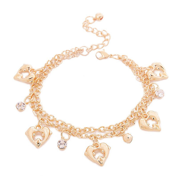 Heart and Rhinestone Dolphin Anklet