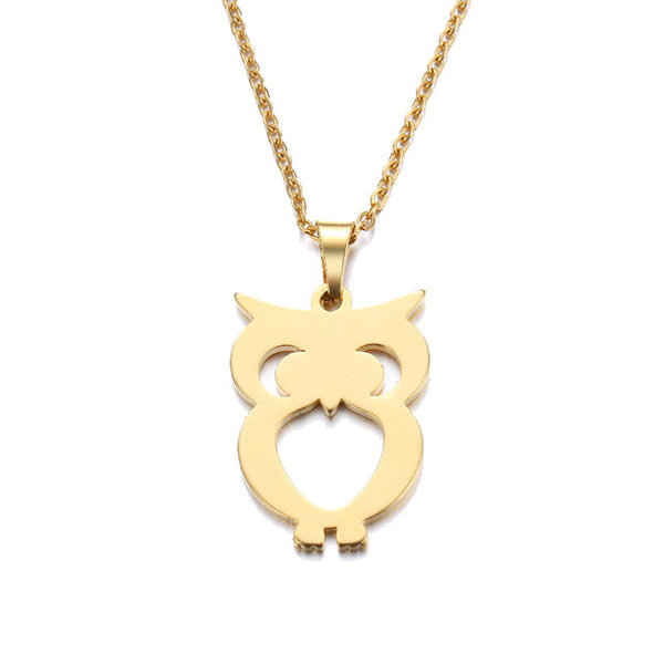 Stainless Steel Lovers Owl Necklace -  (Available in Gold And Silver Color)