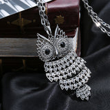 Silver Full Crystal Owl Necklaces & Pendants For Women (Gold Silver colour available) - Fashion Jewelry