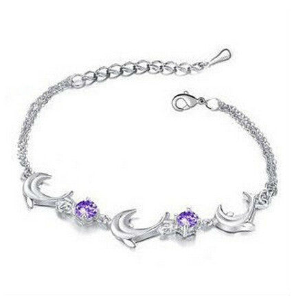 Dolphin and Rhinestone Anklet - Purple