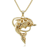 Gracious Rhinestone Encrusted  Dolphins Necklace