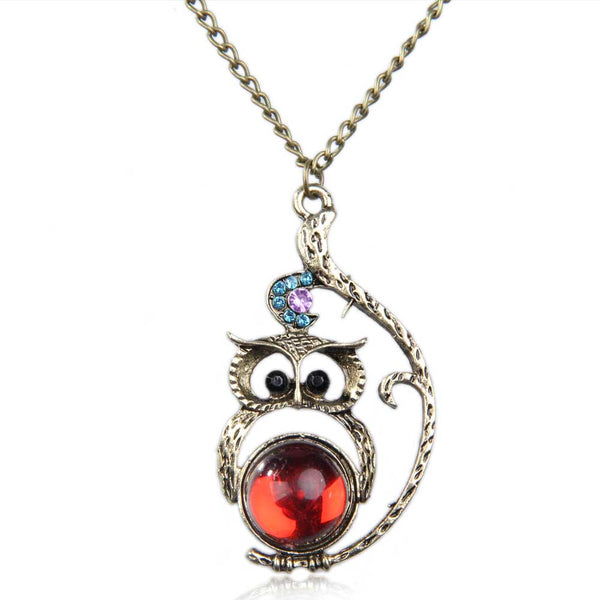 Vintage Long Studded Cute Owl Pattern Nature Stone Pendant Necklace - Perfect Accessory or Gift