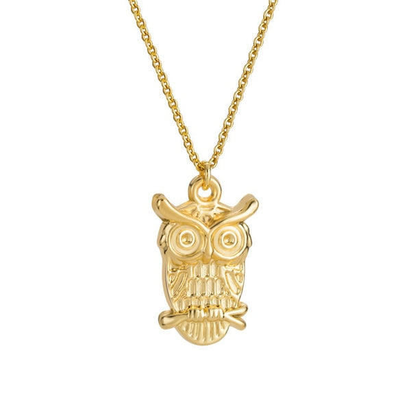 Lovely Owl Shaped Pendant Necklace For Women - (Gold or Silver Available)