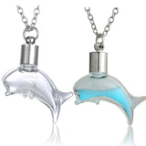 Glass Wishing bottle Dolphin Pendant Necklace - Choose from Dandelion or Glowing